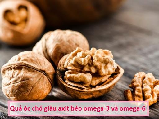 quả óc chó giàu axit béo omega-3 và omega-6